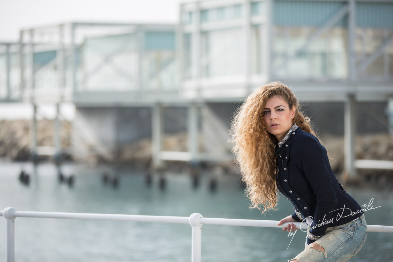 Themis posing next to the new buildings of the Old Port Limassol. Photo by Cristian Dascalu