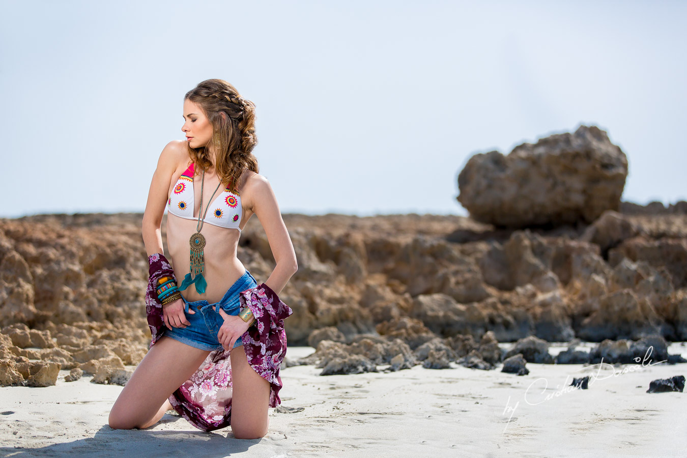 Anastasia posing for Cristian Dascalu at Nissi Beach