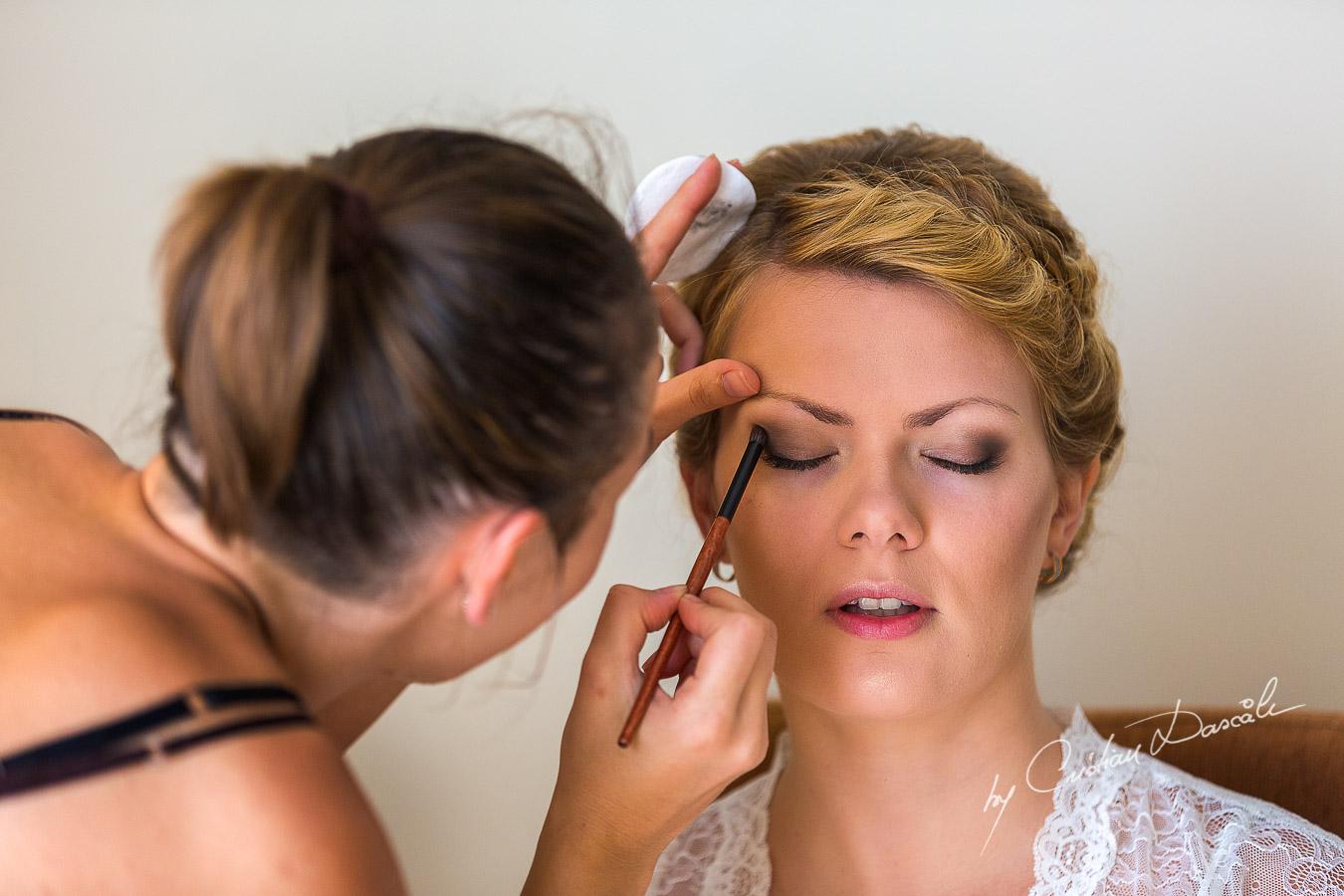 Bridal makeup under progress at Elias Beach Hotel in Limassol