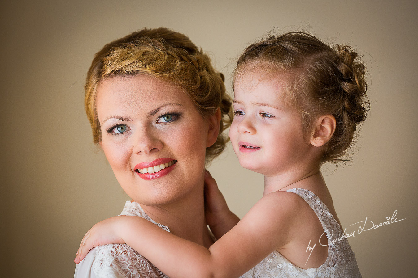 Bride Daria and her beautiful daughter just minutes before wedding ceremony at Elias Beach Hotel in Limassol