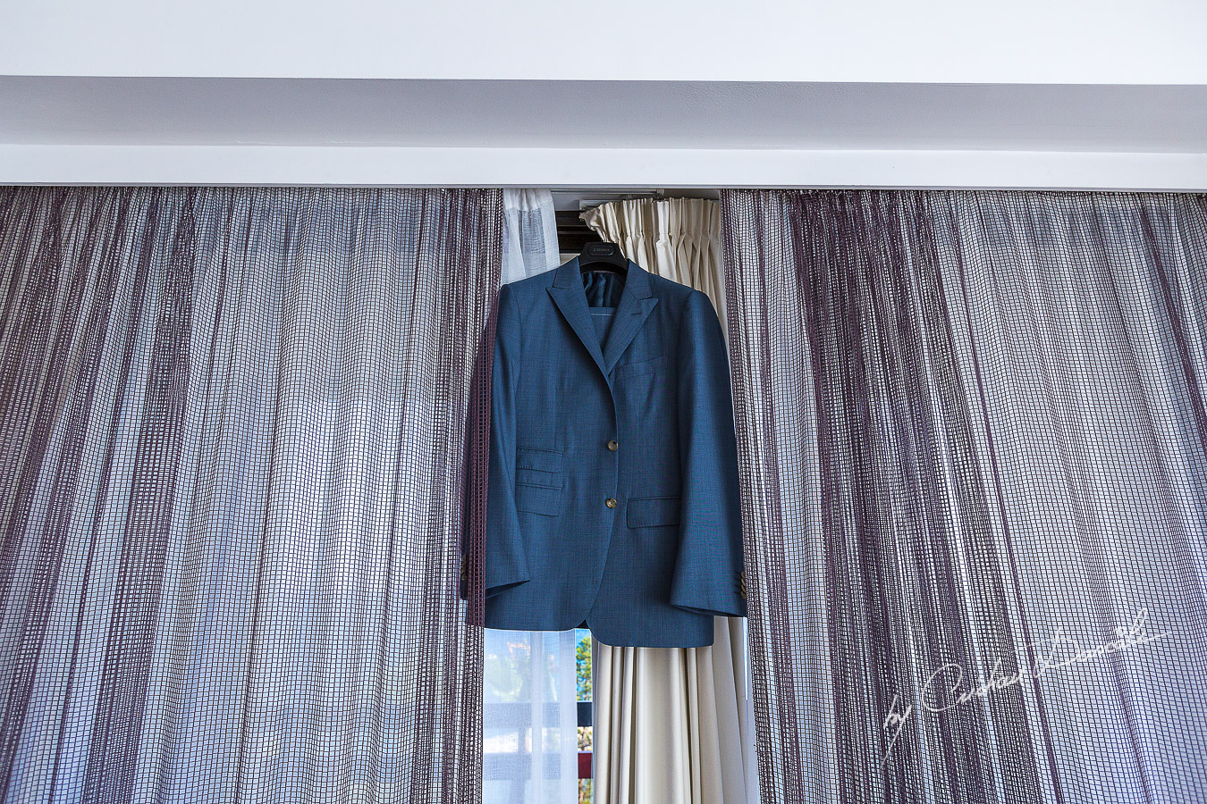 Groom's suit hanged to be photographed at Londa Hotel in Limassol, Cyprus