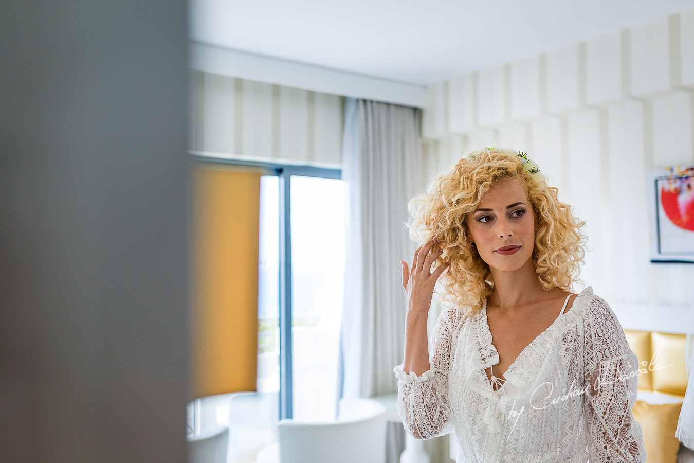 Bridal make-up moments captured before her Jewish Wedding Ceremony in Cyprus.