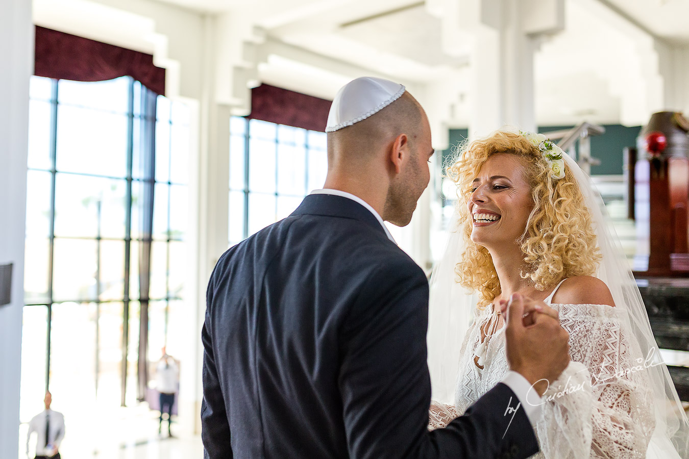 The groom meets his bride before their Jewish Wedding Ceremony in Cyprus.