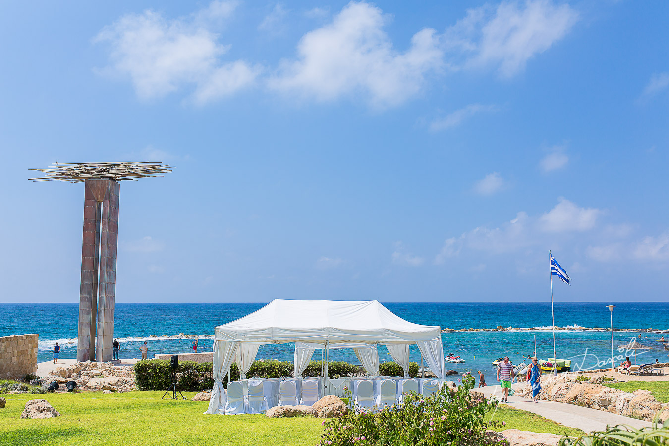 Beach Ceremony arrangements for a Jewish Wedding Ceremony in Cyprus.