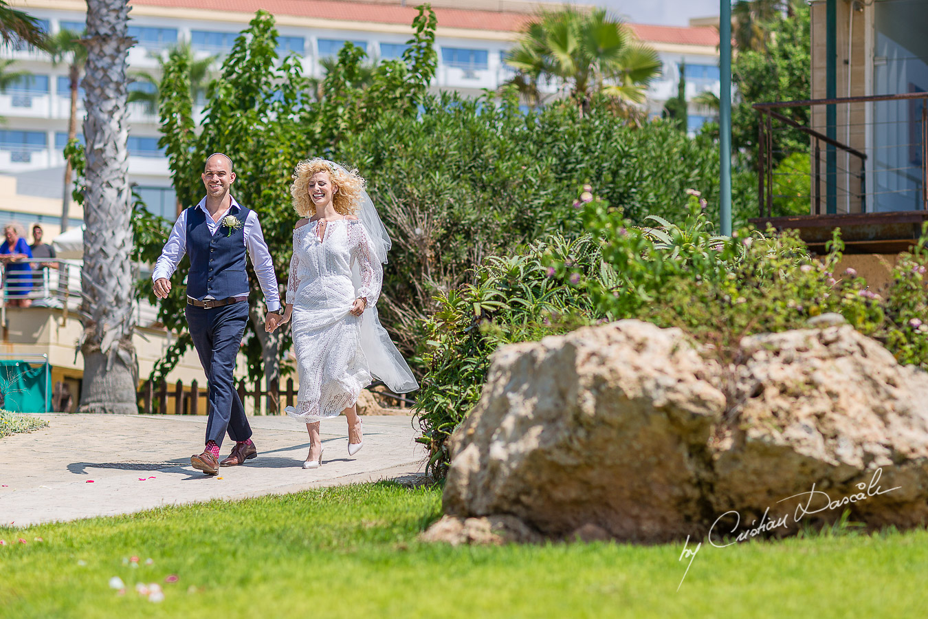 Bride and Groom arrive at their Jewish Wedding Ceremony in Cyprus.