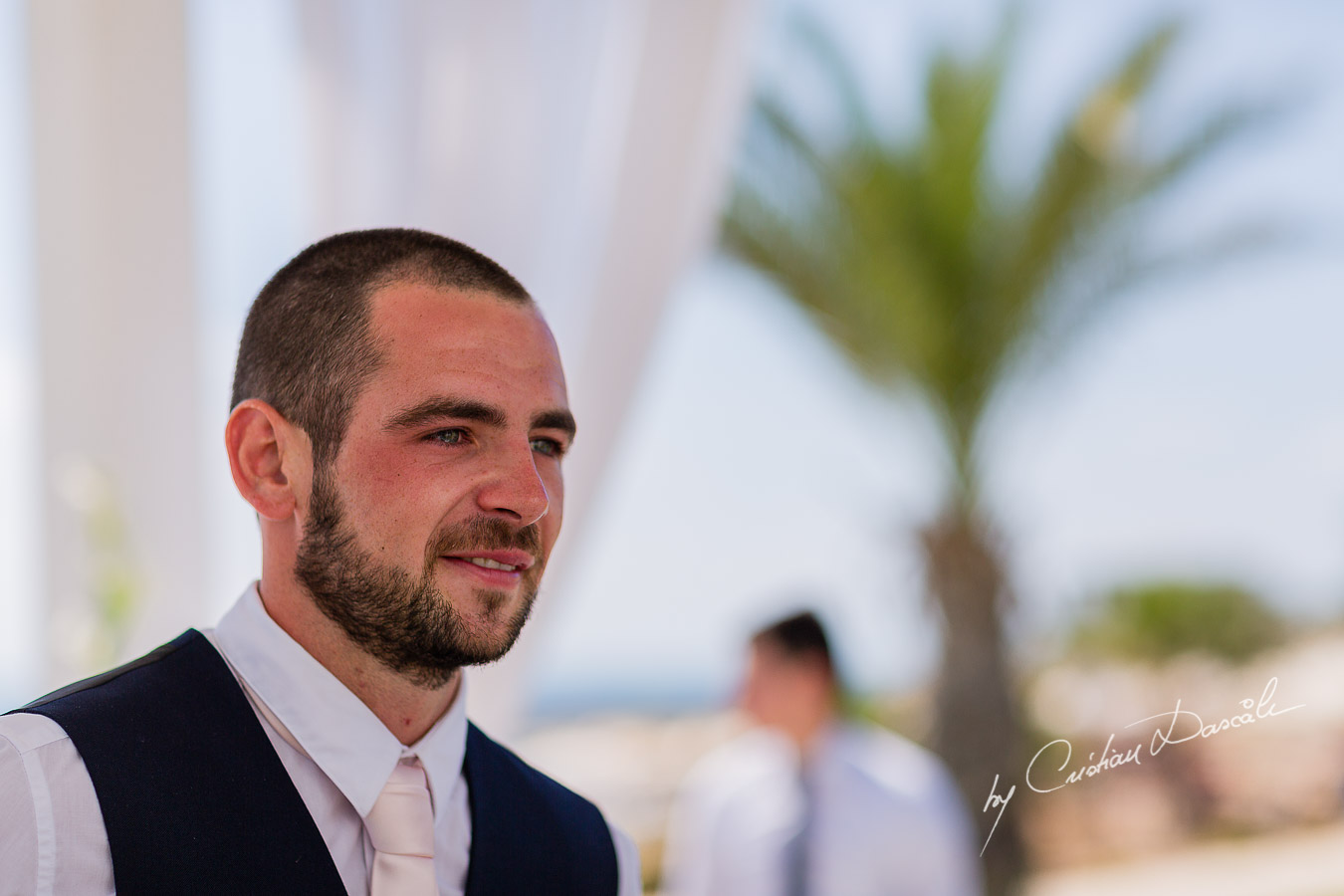 Emotional groom Luke, just before his wedding ceremony at King Evelton Hotel and Resort in Paphos, Cyprus.