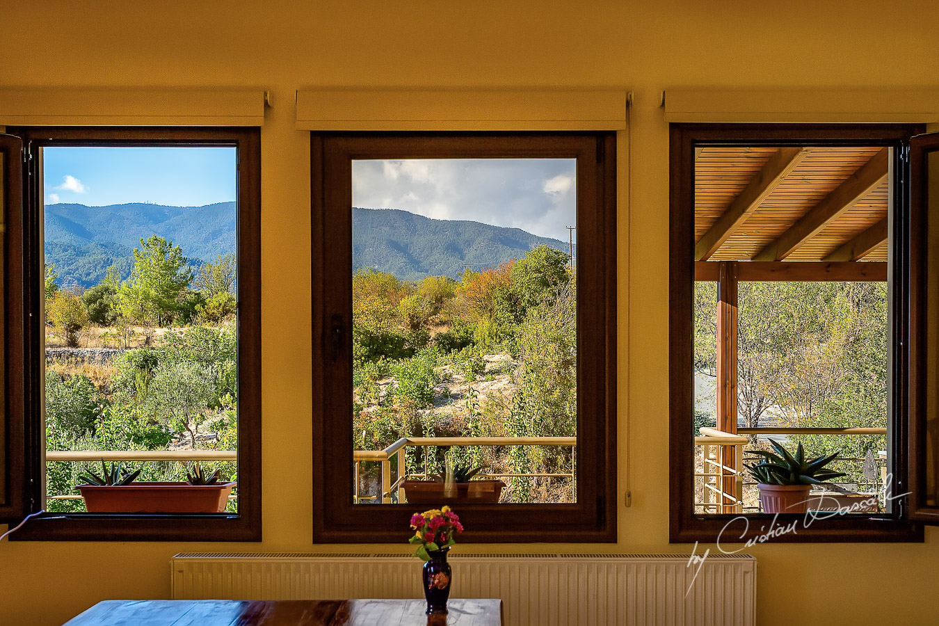 View towards Troodos Mountains captured at The Roses Vila in Trimiklini.