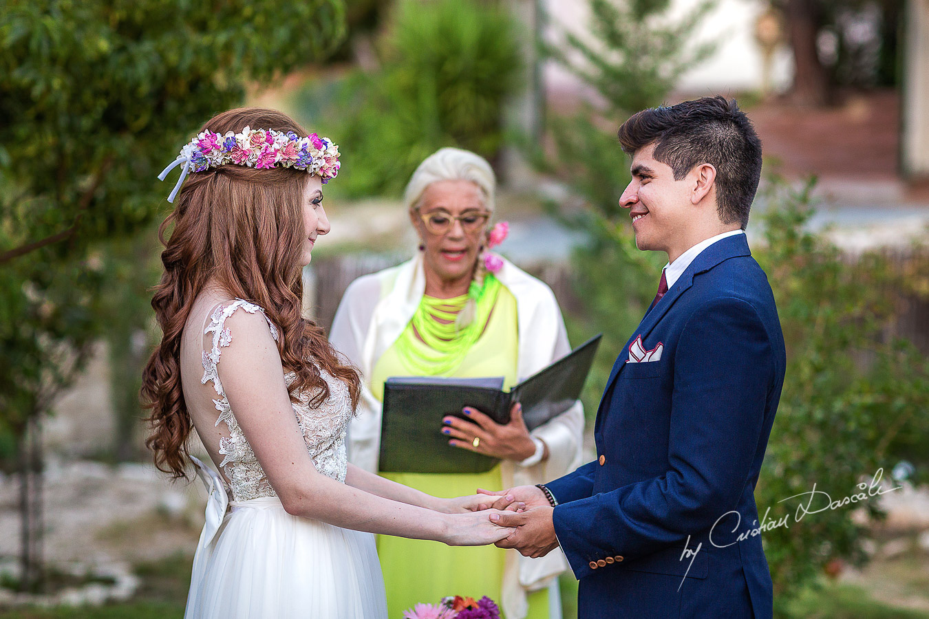 Emotional moments captured at a beautiful bohemian wedding in Trimiklini, Cyprus.