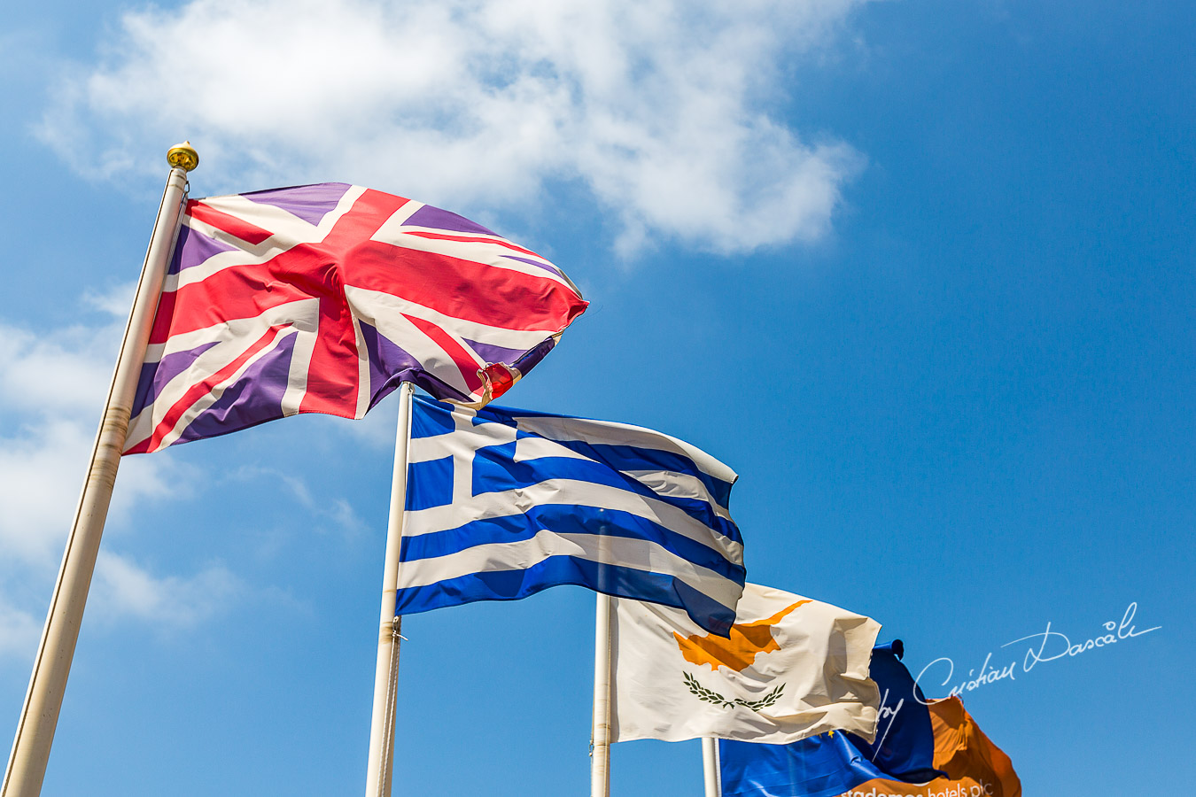 Great Britain , Greek and Cyprus Flags photographed by Cristian Dascalu at Elysium Hotel in Cyprus.