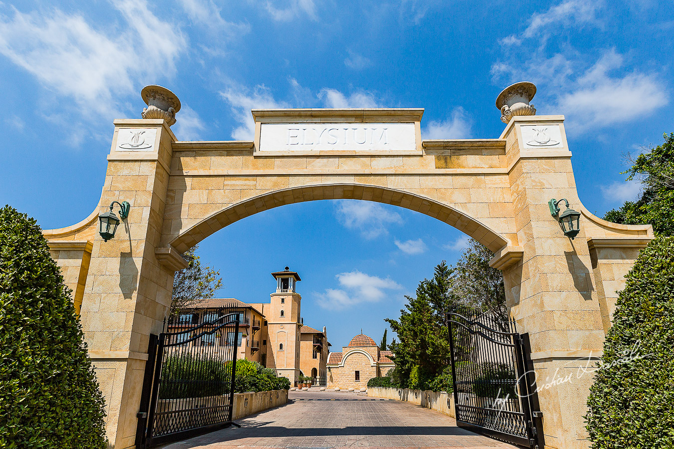 The entrance gate of the beautiful Elysium Hotel in Paphos.