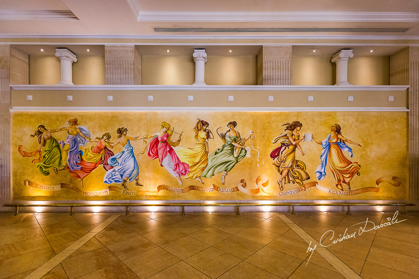 Beautiful wall painting captured at Elysium Hotel in Paphos.