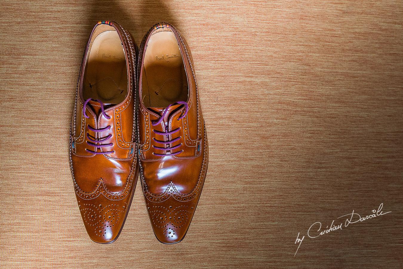 Groom's shoes captured at Elysium Hotel in Paphos, Cyprus.