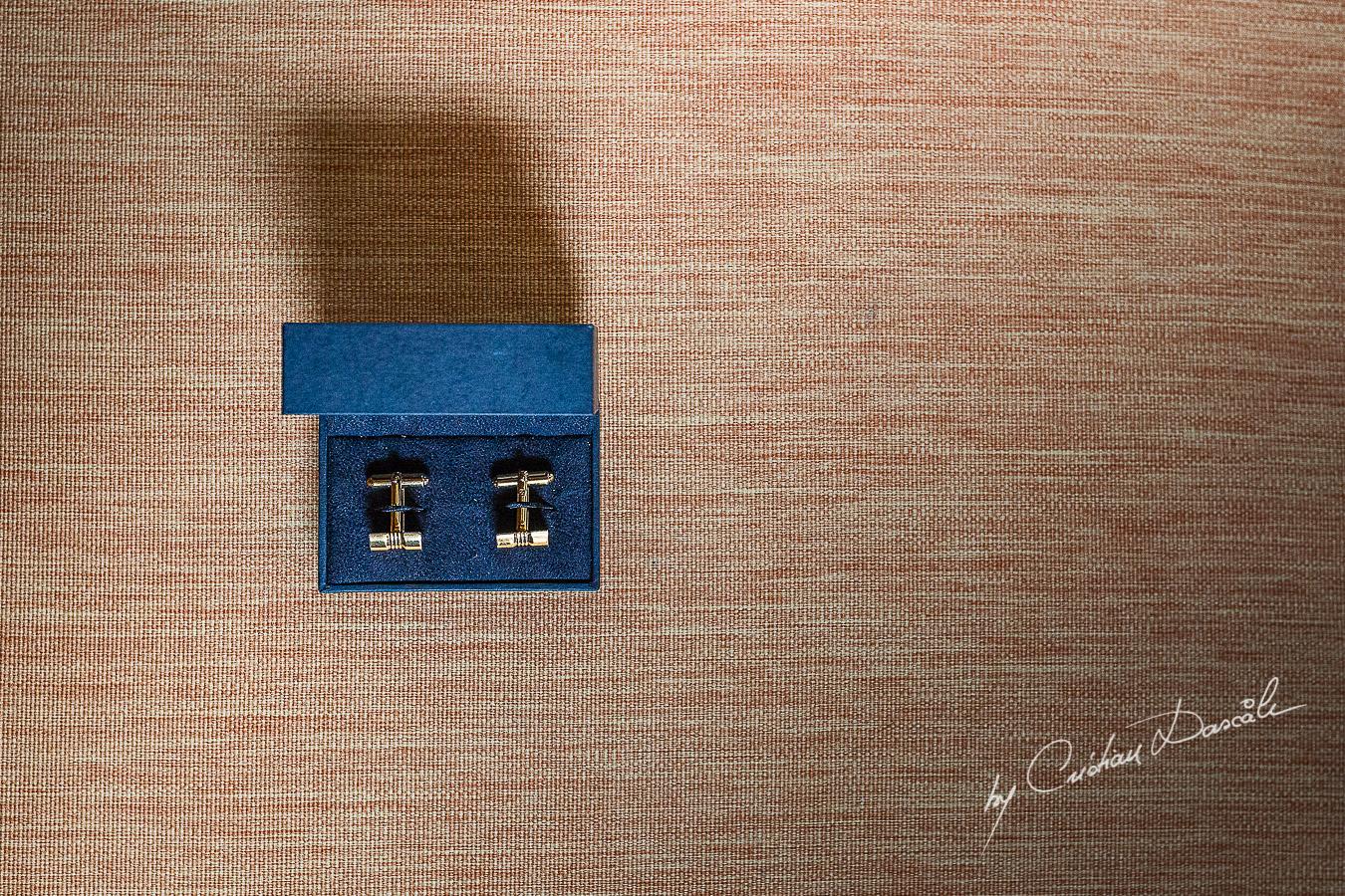 Groom's cuff-links captured at Elysium Hotel in Paphos.