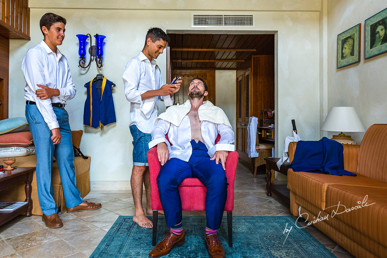 Traditional Groom Shaving, before the wedding Ceremony at the Elysium Hotel in Paphos.