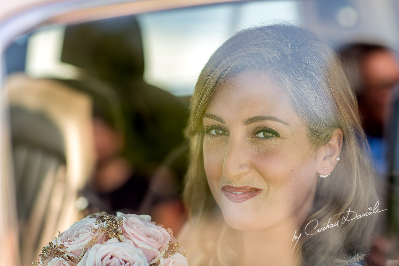 The sister of the bride arriving at the wedding Ceremony from Agia Paraskevi, in Paphos, Cyprus.