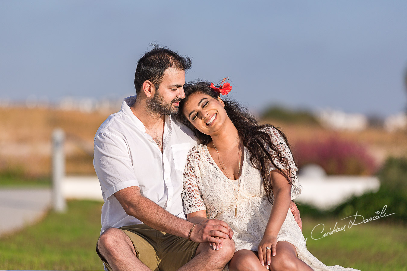 An anniversary couple photo shoot in paphos from sunset to sunrise