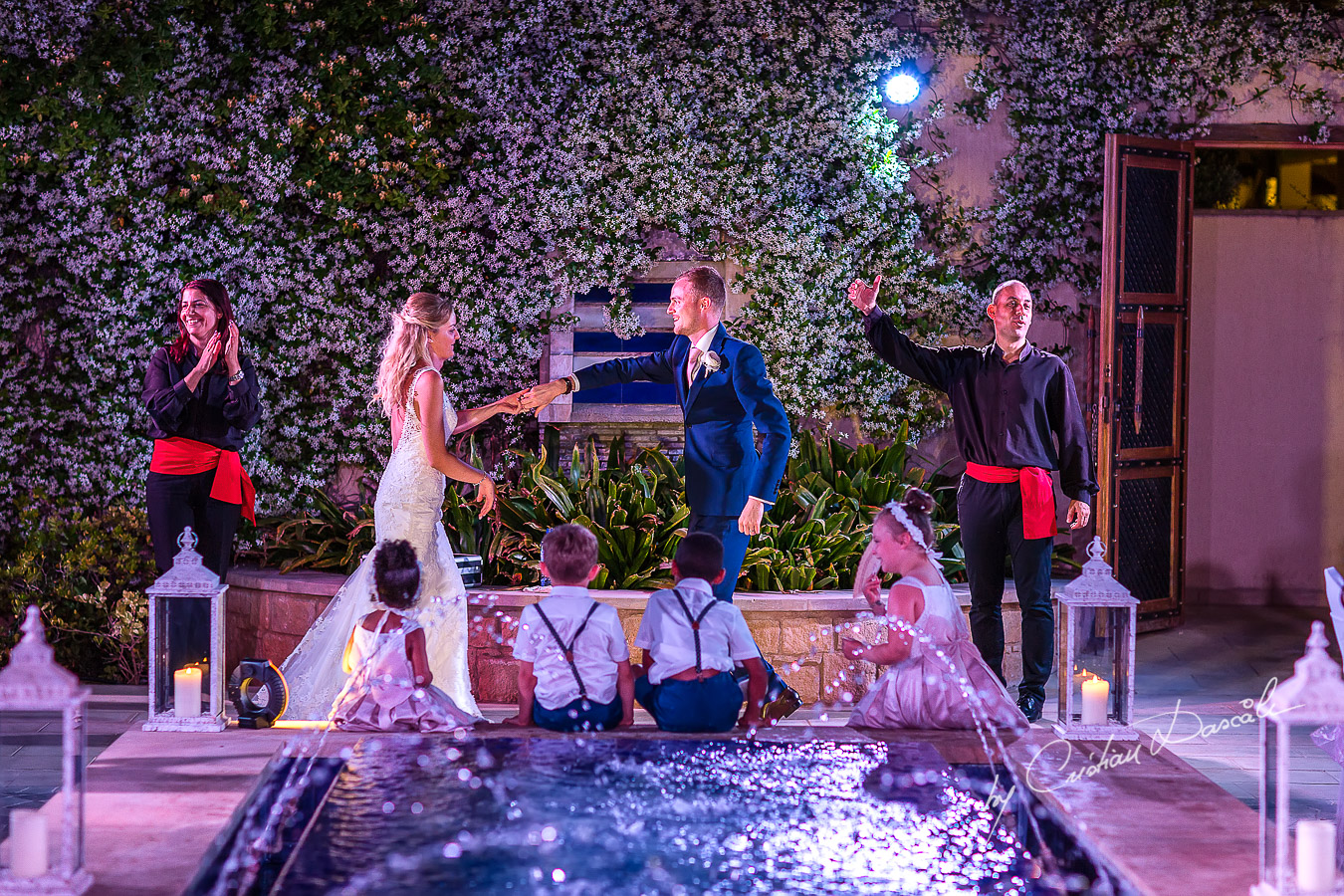 Wedding dinner moments captured by Cristian Dascalu at a wedding at The Aphrodite Hills Resort in Paphos, Cyprus.