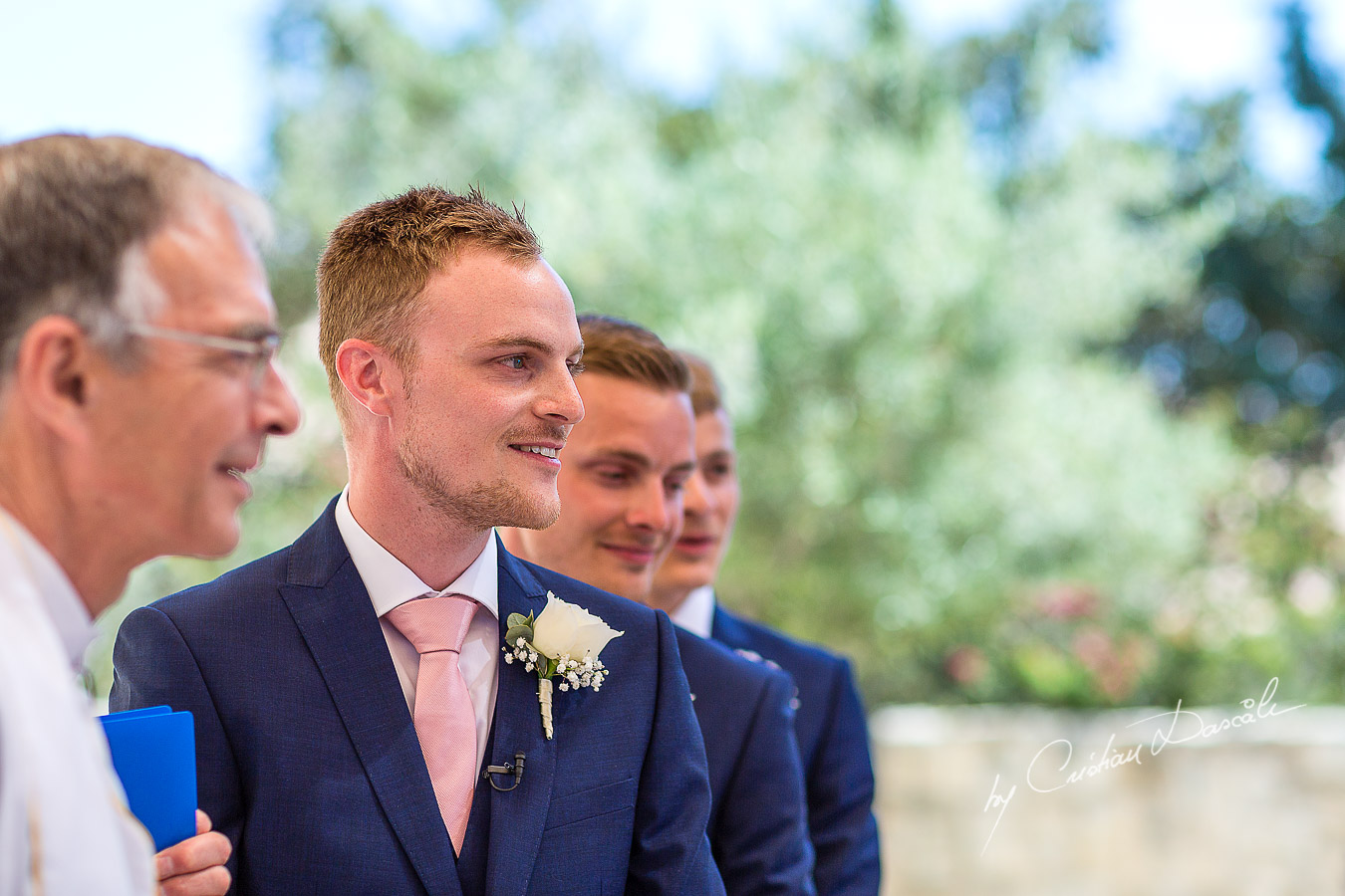 The grooms reaction when the bride arrives at the wedding ceremony at Aphrodite Hills Resort in Cyprus, captured by photographer Cristian Dascalu.