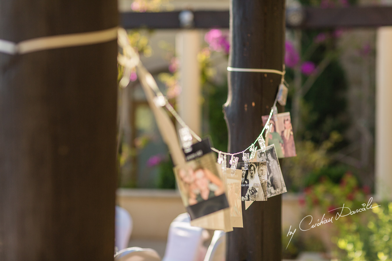 Simple yet beautiful wedding decorations captured by Cristian Dascalu at a wedding at The Aphrodite Hills Resort in Paphos, Cyprus.