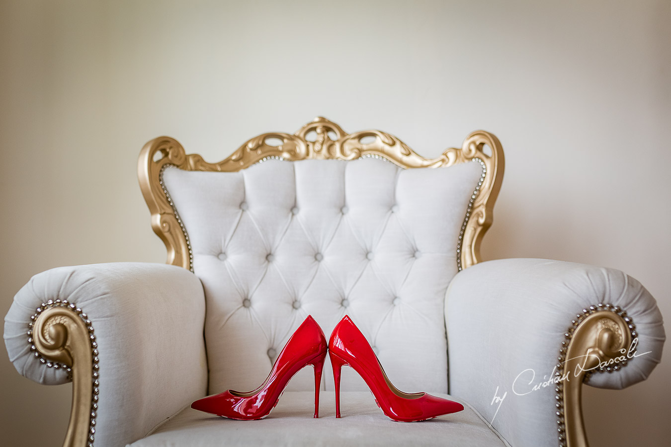 Bride's shoes photographed at a wedding in Nicosia by Cyprus Wedding Photographer Cristian Dascalu