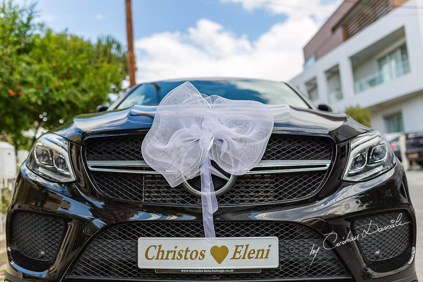 Bride and Groom getaway car photographed at a wedding in Nicosia by Cyprus Wedding Photographer Cristian Dascalu