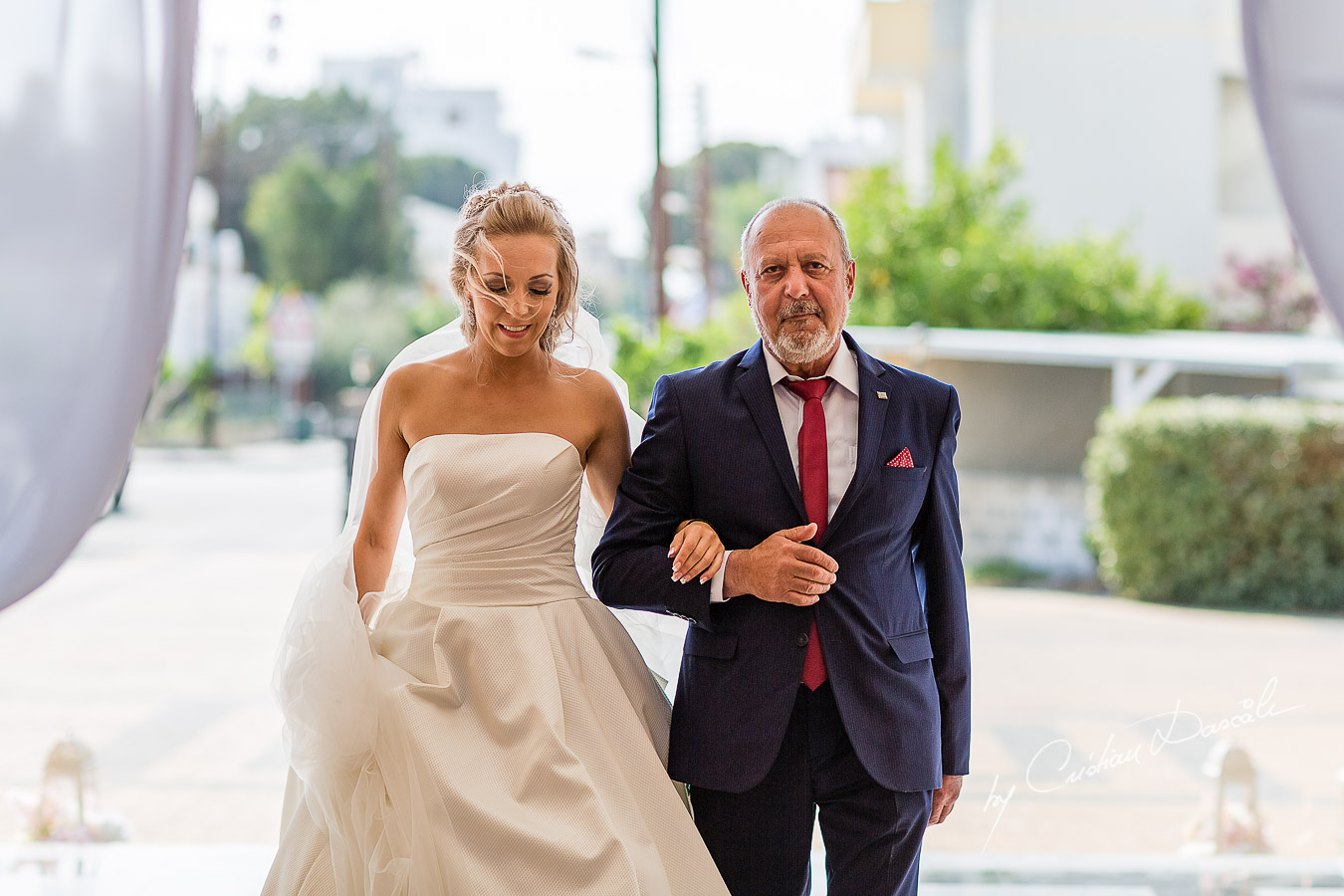 Bride's arrival photographed at a wedding in Nicosia by Cyprus Wedding Photographer Cristian Dascalu