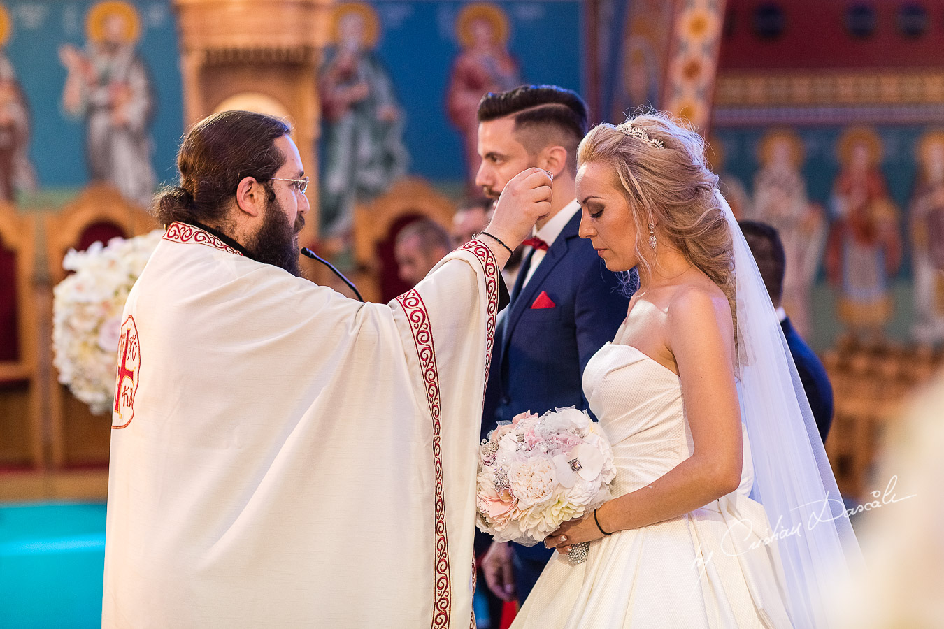 Church ceremony photographed at a wedding in Nicosia by Cyprus Wedding Photographer Cristian Dascalu