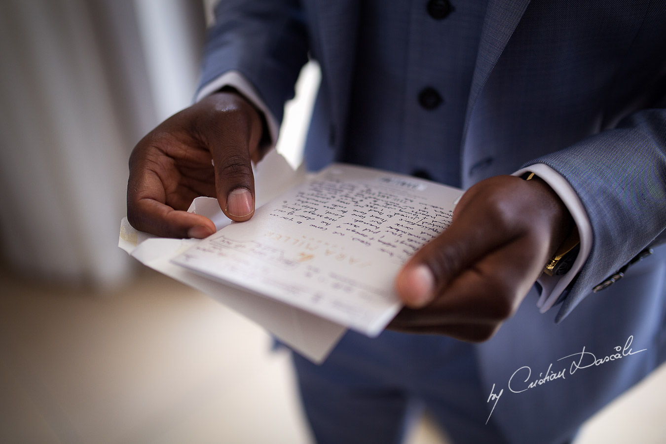 Letter from bride to the groom phootgraphed at a wedding at Minthis Hills in Cyprus, by Cristian Dascalu.