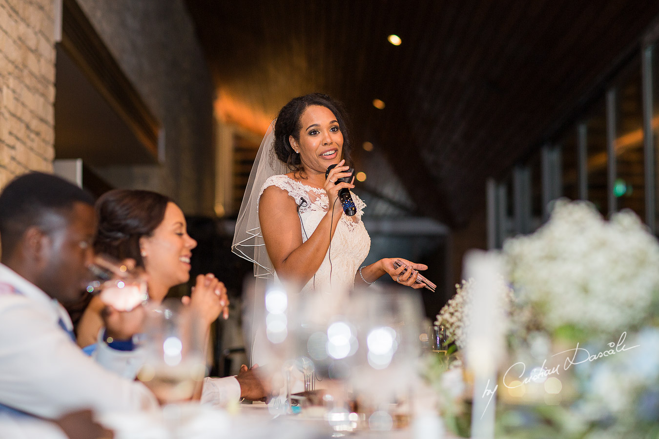 Bride speech moment captured at a wedding at Minthis Hills in Cyprus, by Cristian Dascalu.