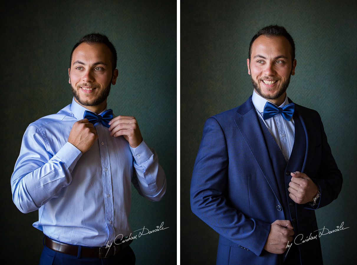 The Groom posing during his getting ready as part of an Exclusive Wedding photography at Grand Resort Limassol, captured by Cyprus Wedding Photographer Cristian Dascalu.