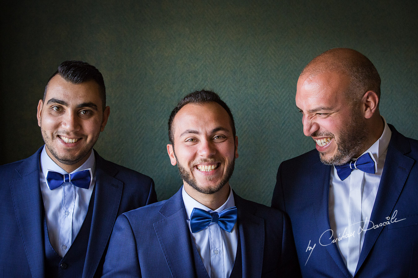 Groom and bestmen posing during getting ready as part of an Exclusive Wedding photography at the Grand Resort Limassol, captured by Cyprus Wedding Photographer Cristian Dascalu.