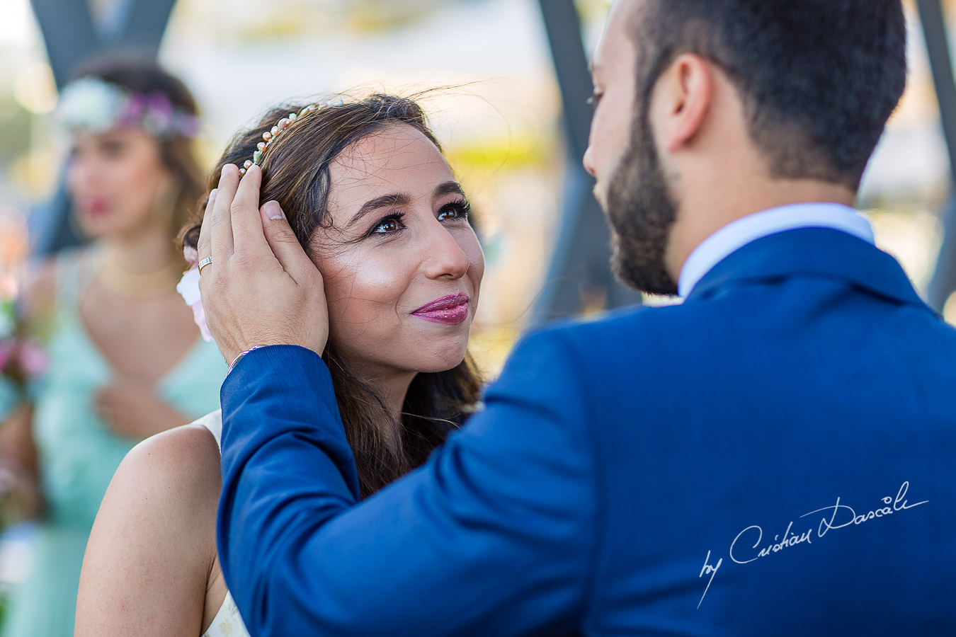 Unique gentle moments with the bride and groom during the ceremony, as part of an Exclusive Wedding photography at Grand Resort Limassol, captured by Cyprus Wedding Photographer Cristian Dascalu.
