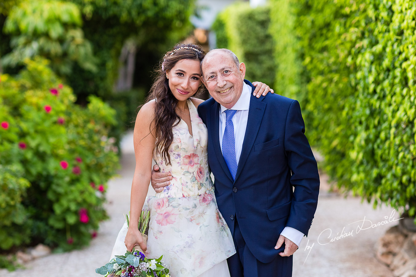 Portrait with the bride and her father photographed as part of an Exclusive Wedding photography at Grand Resort Limassol, captured by Cyprus Wedding Photographer Cristian Dascalu.