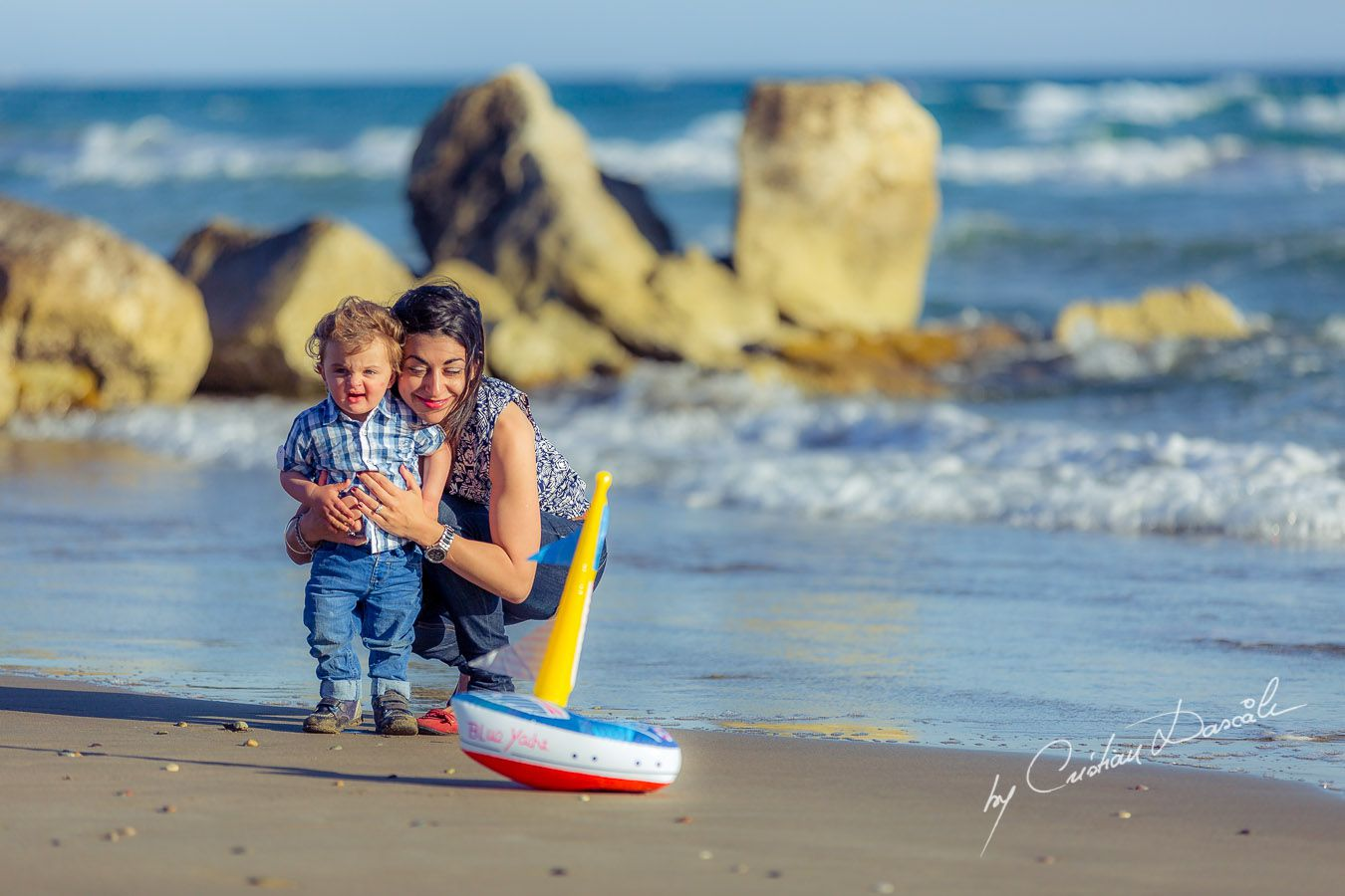 Precious moments: Maria & little Harry at Curium Beach, Cyprus. Photographer: Cristian Dascalu
