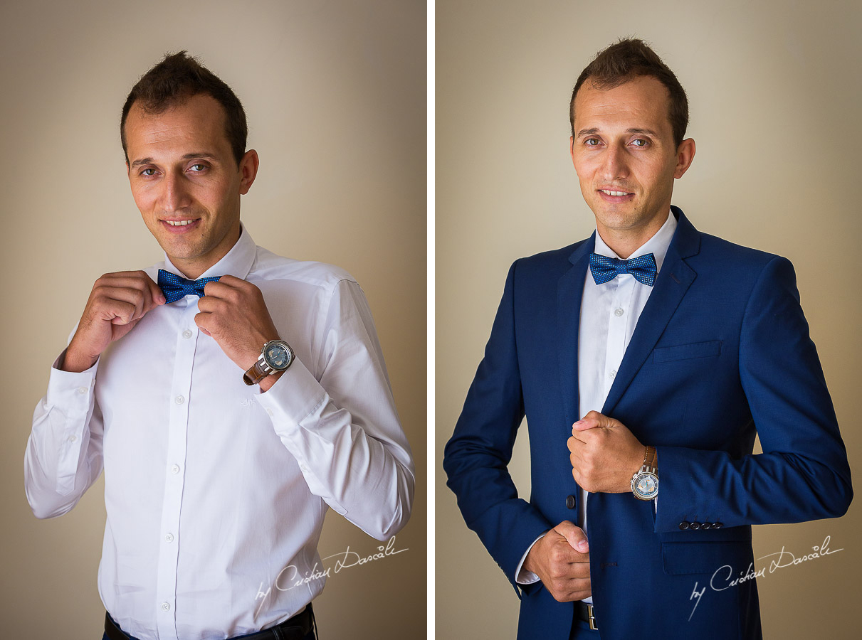Groom's portraits at Elias Beach Hotel in Limasol