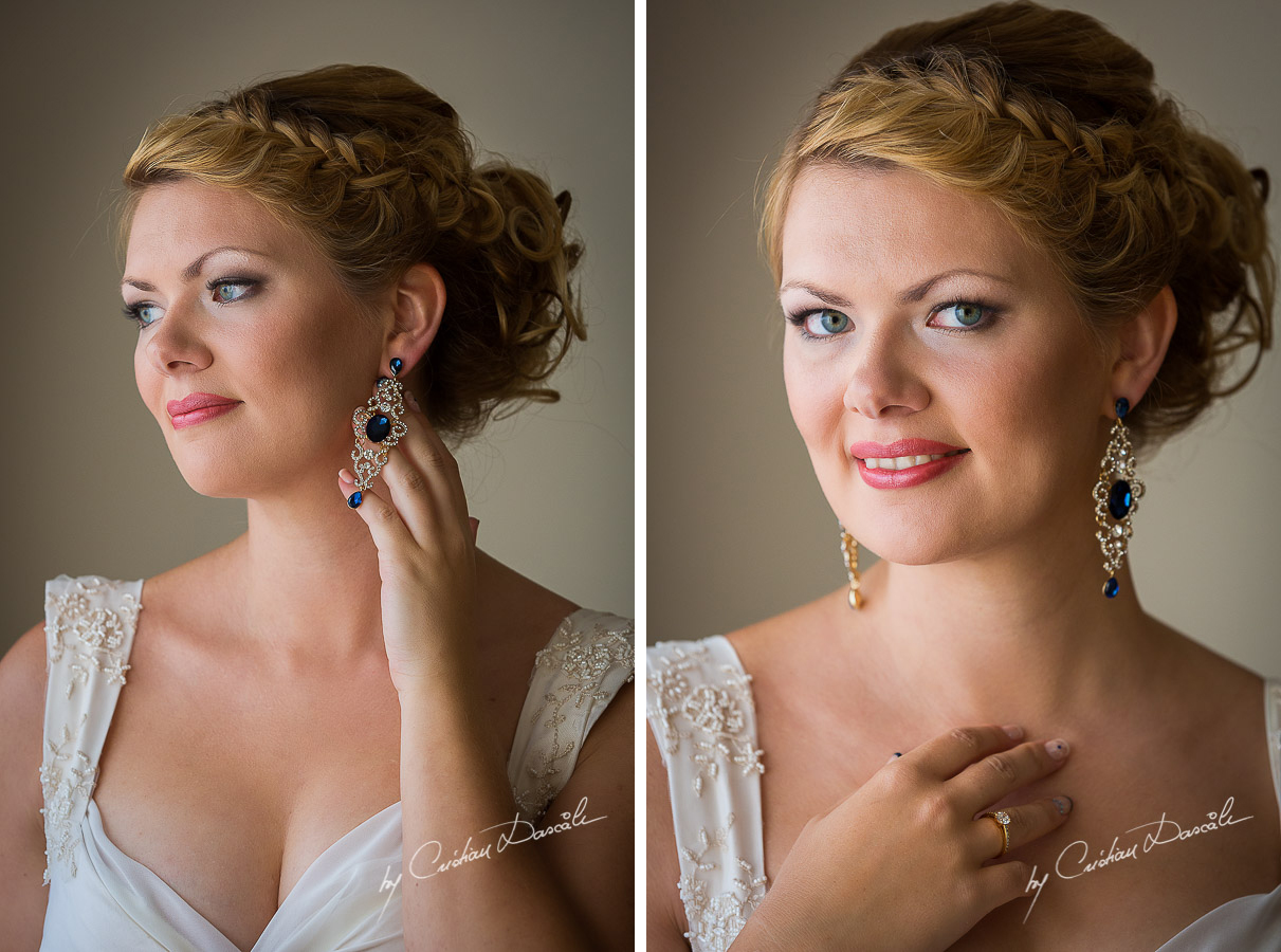 Beautiful bridal portrait of Daria before her wedding at Elias Beach Hotel in Limassol