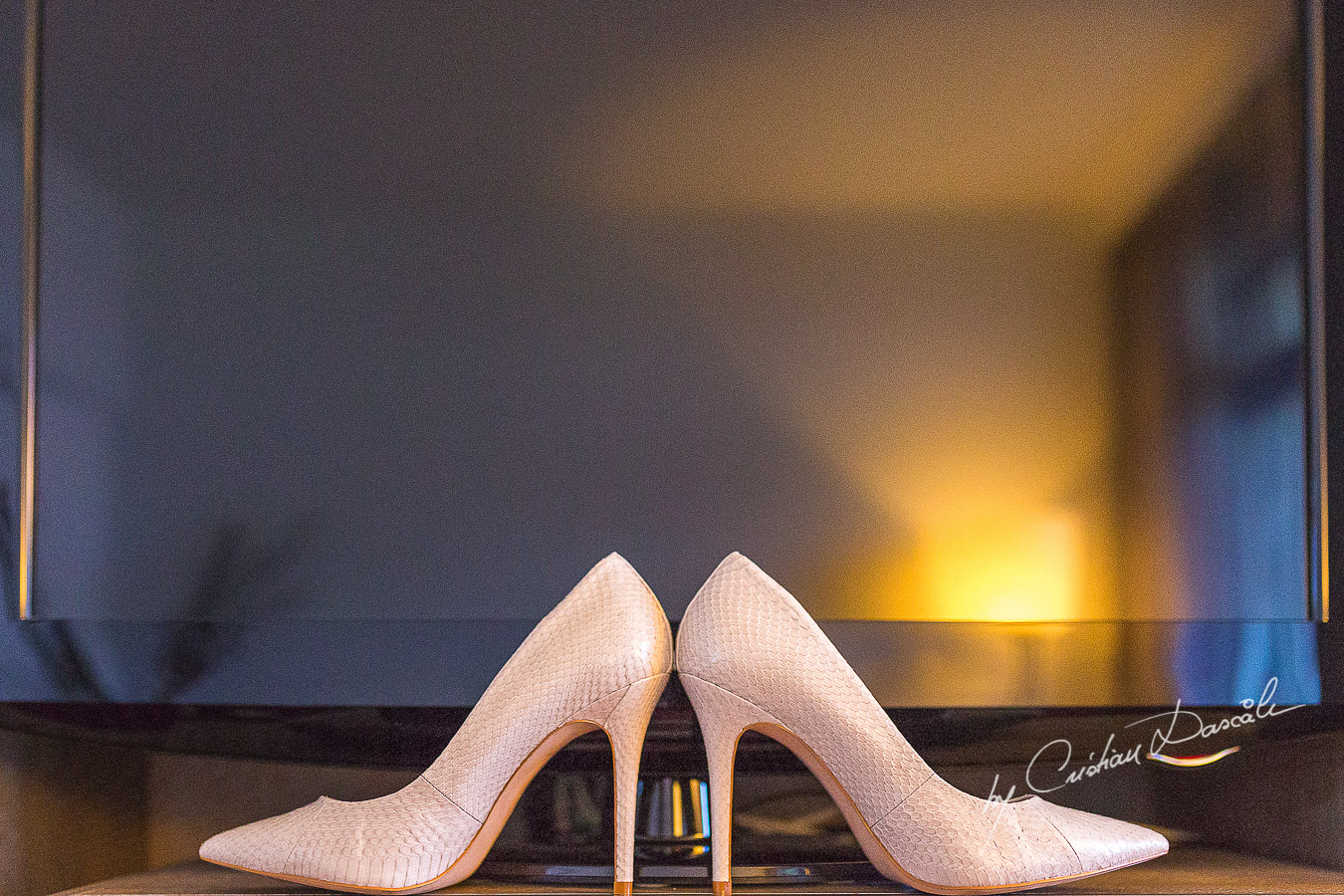 Bride`s shoes captured at Londa Hotel in Limassol, Cyprus.