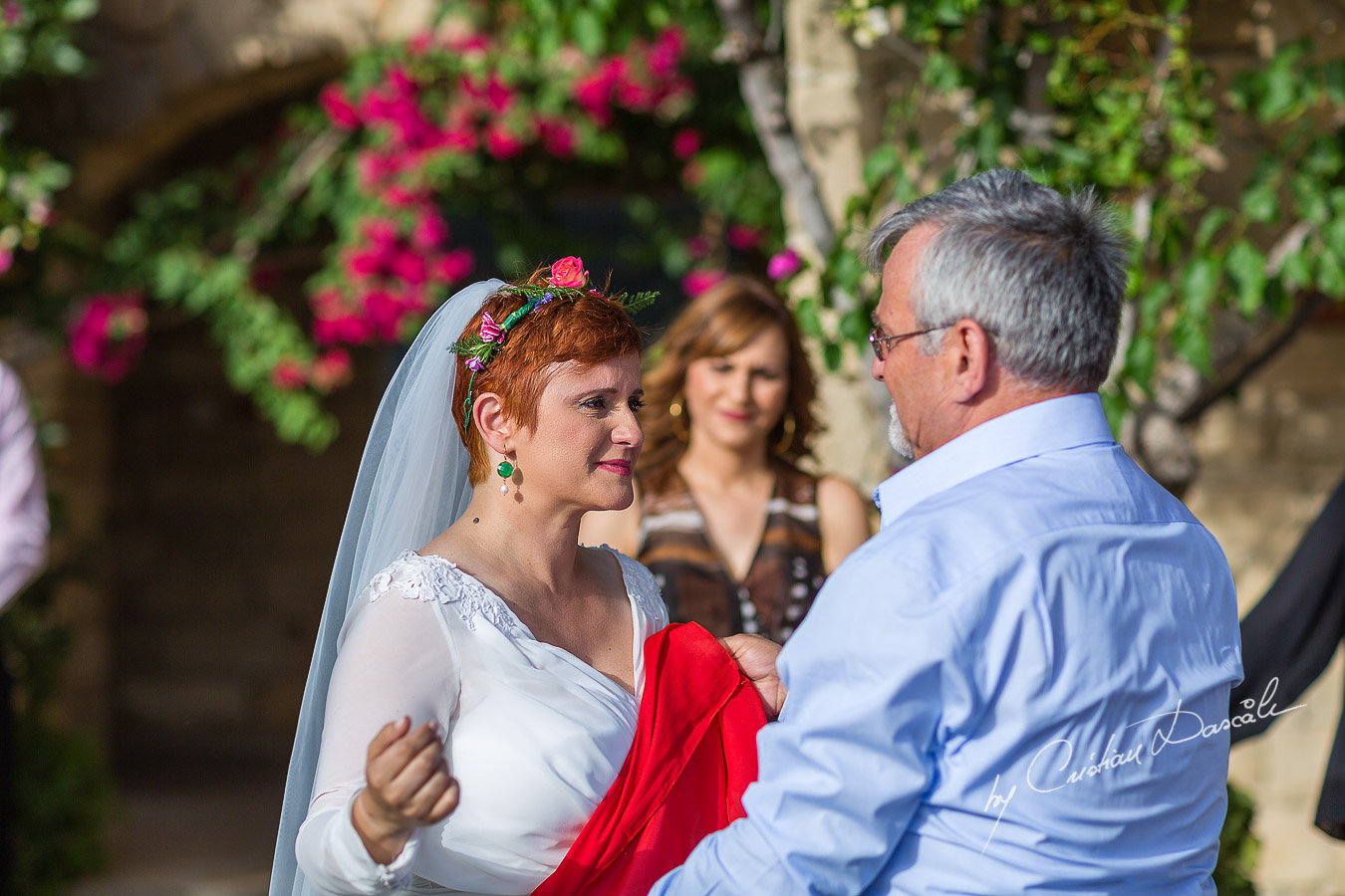 Red scarf traditions at Traditional Cyprus Wedding in Tochni, Larnaca.
