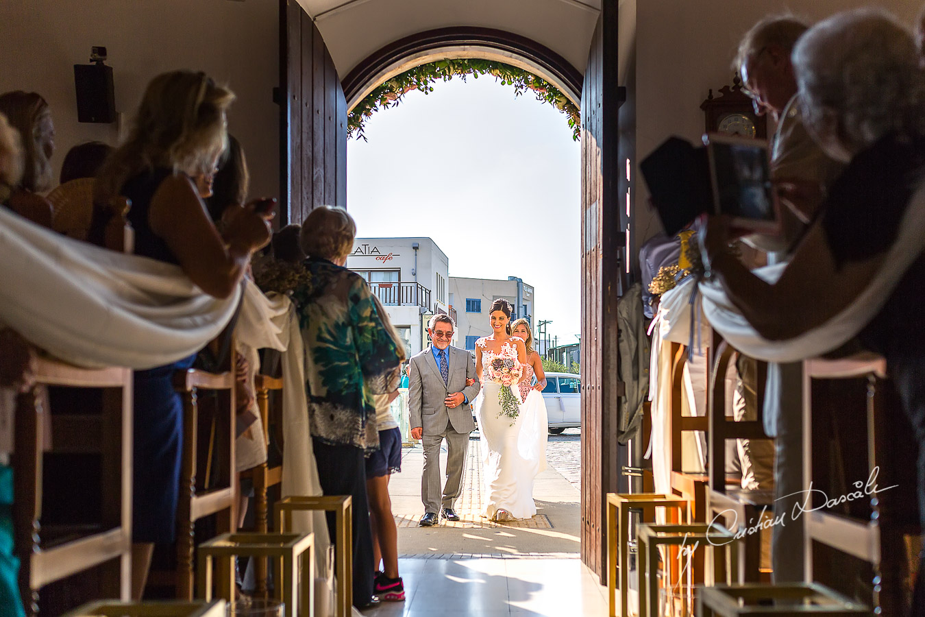 Bride`s arrival at her wedding Ceremony from Agia Paraskevi, in Paphos, Cyprus.