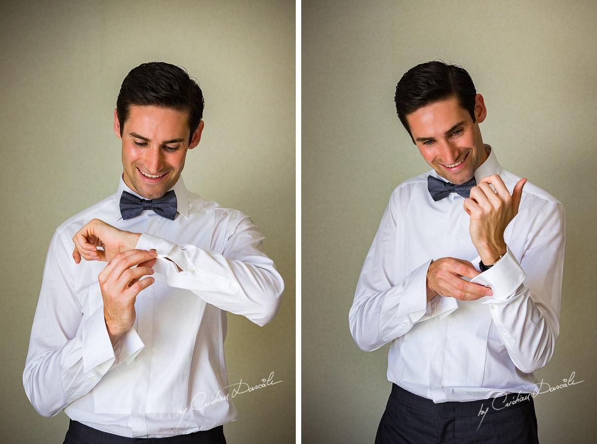 The Groom Chris posing at his wedding in Ayia Napa, Cyprus by Cristian Dascalu.