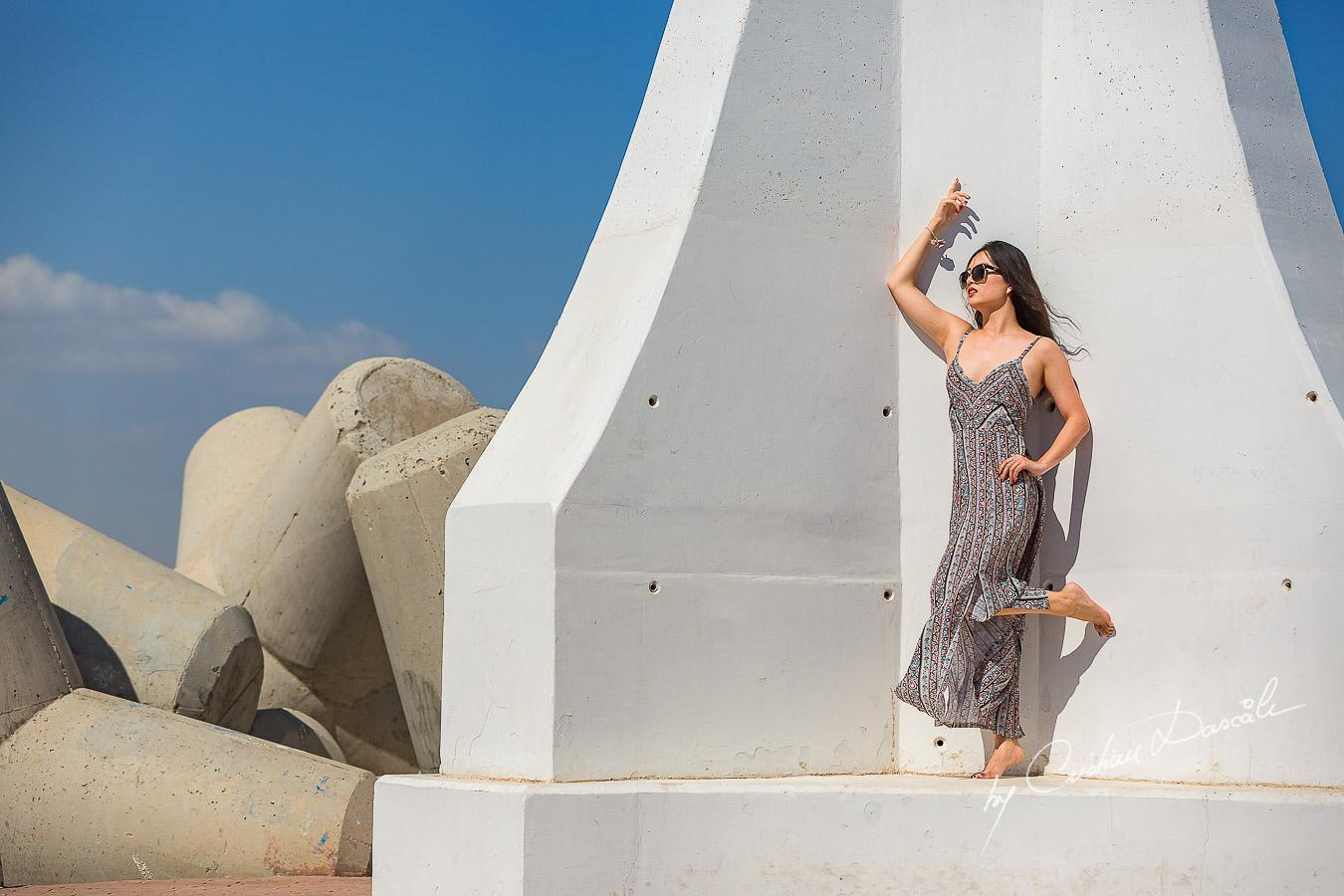 Hongzhen posing like a model in Zygi, Cyprus. Photographer: Cristian Dascalu