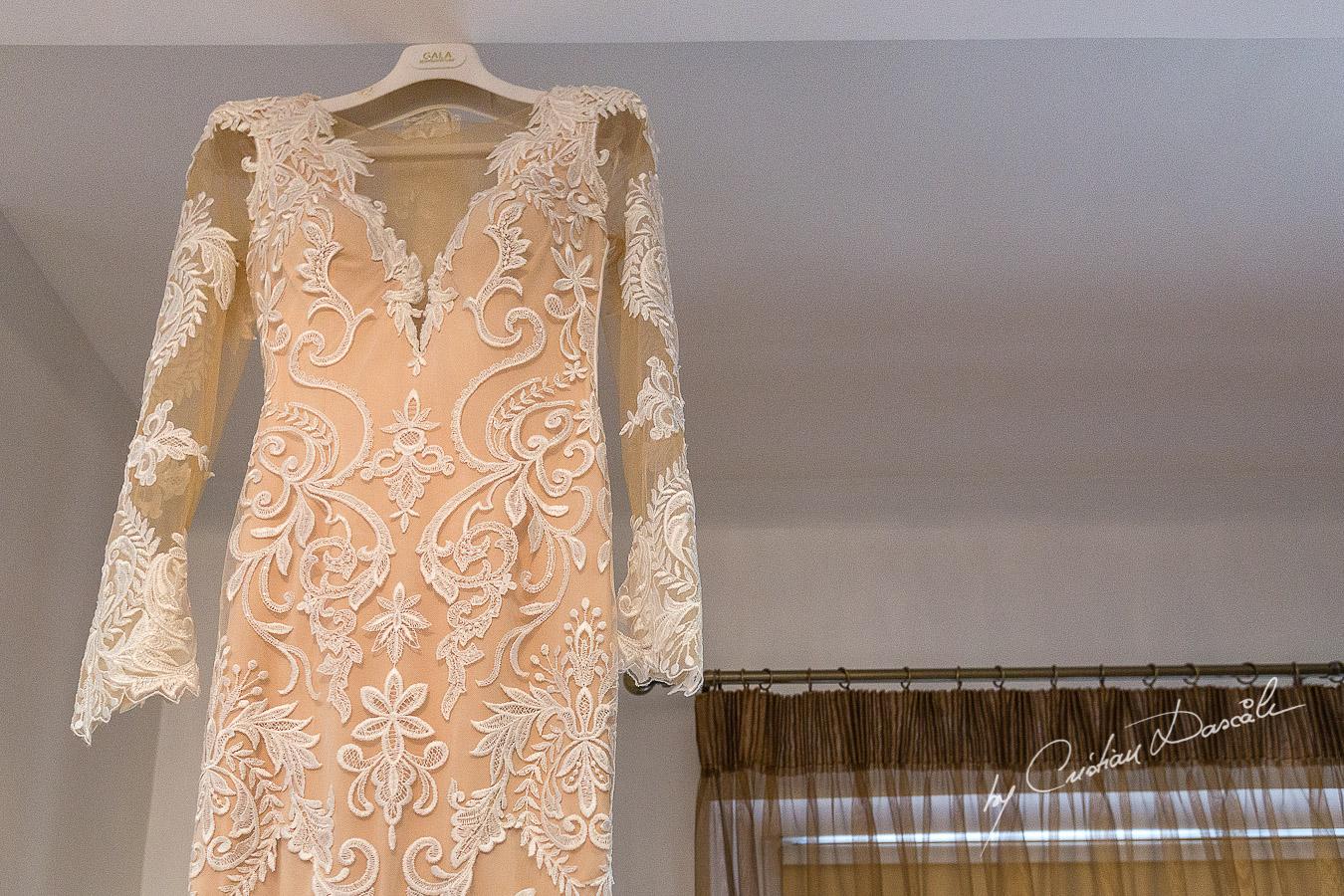Bridal dress captured at an elegant and romantic wedding at Elias Beach Hotel by Cristian Dascalu.