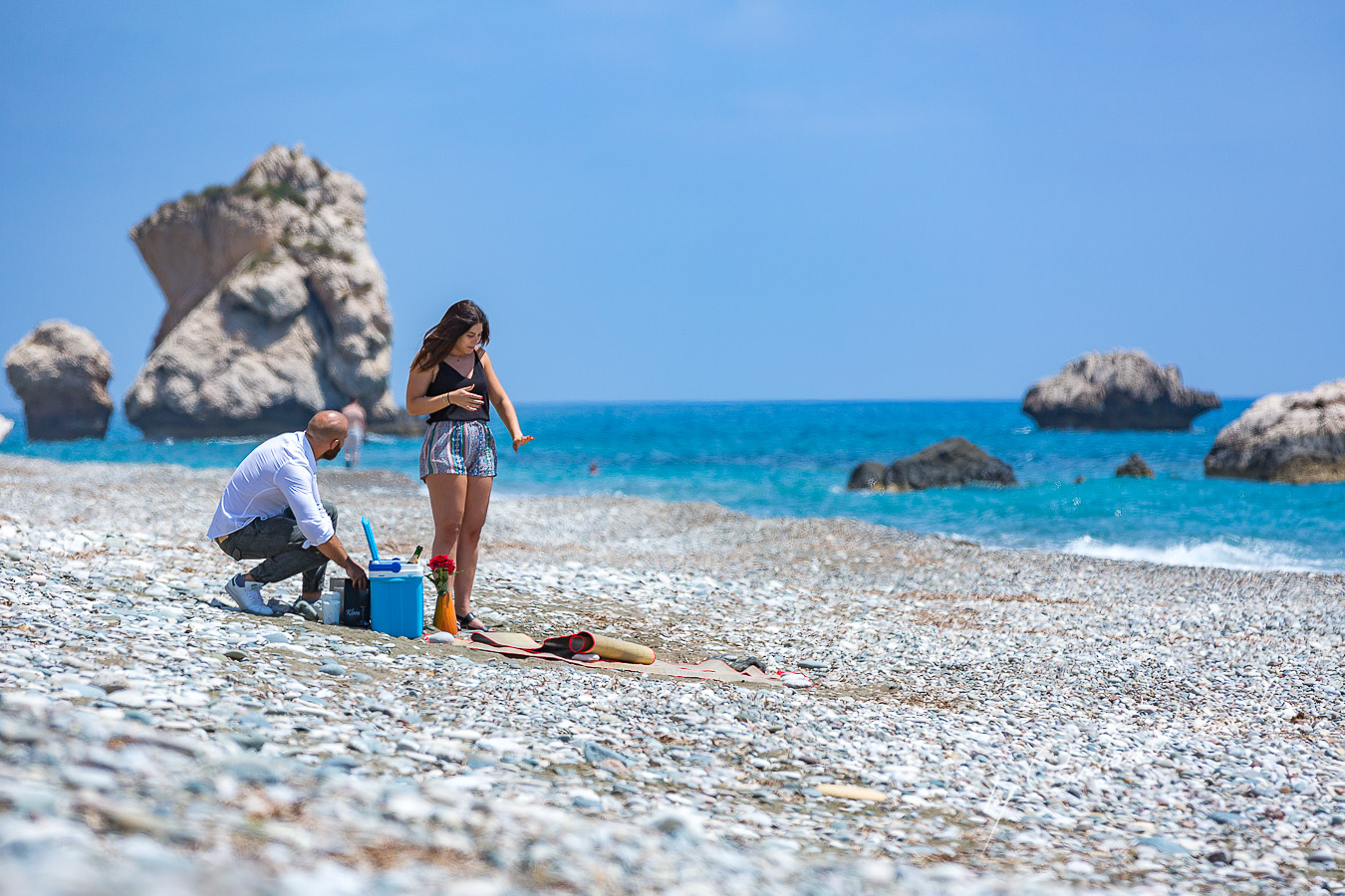 Happy moments capture at Aphrodite Rocks with Christian and Jana, by Cyprus Photographer Cristian Dascalu.