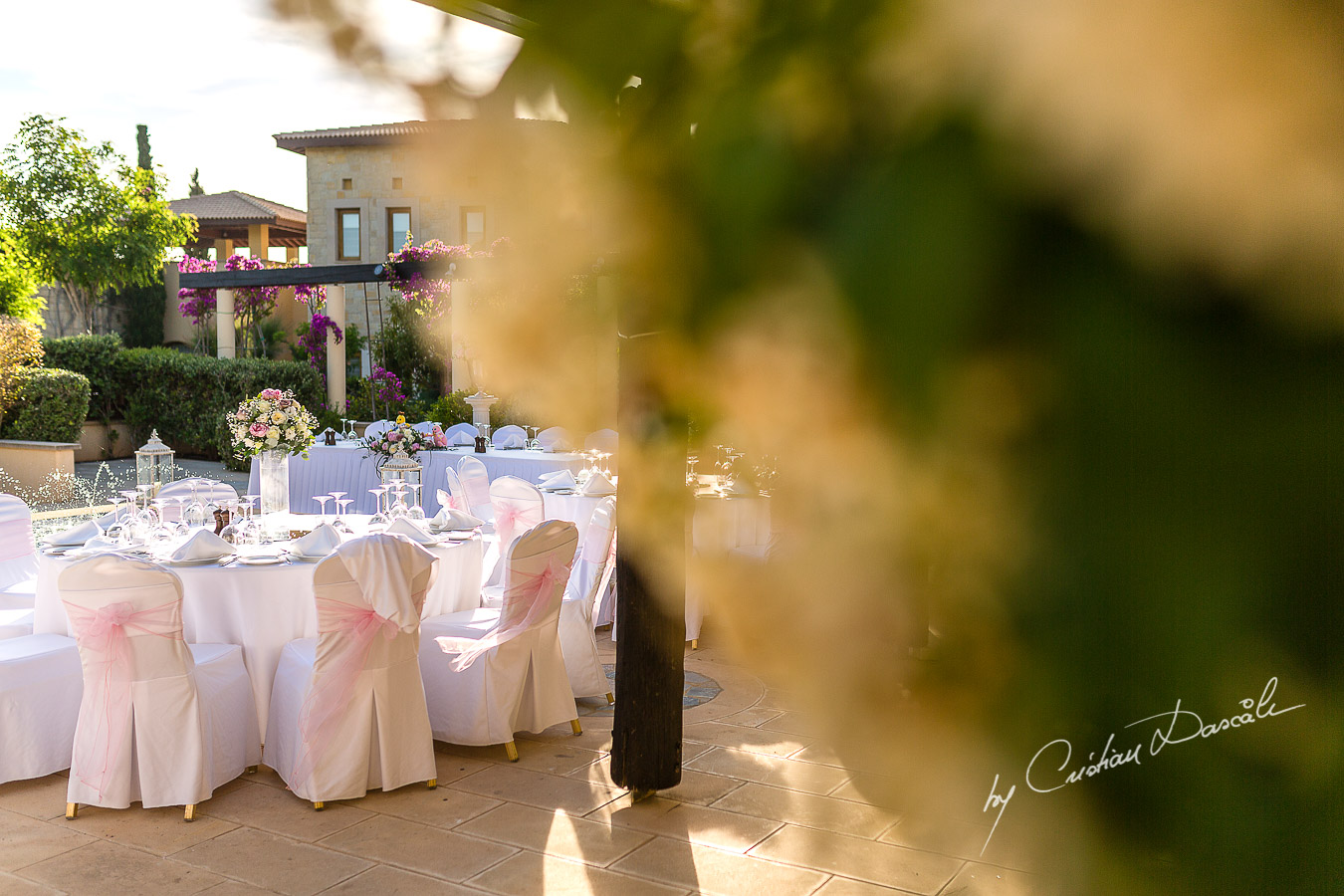 The secret garden decorations decorations captured by Cristian Dascalu at a wedding at The Aphrodite Hills Resort in Paphos, Cyprus.