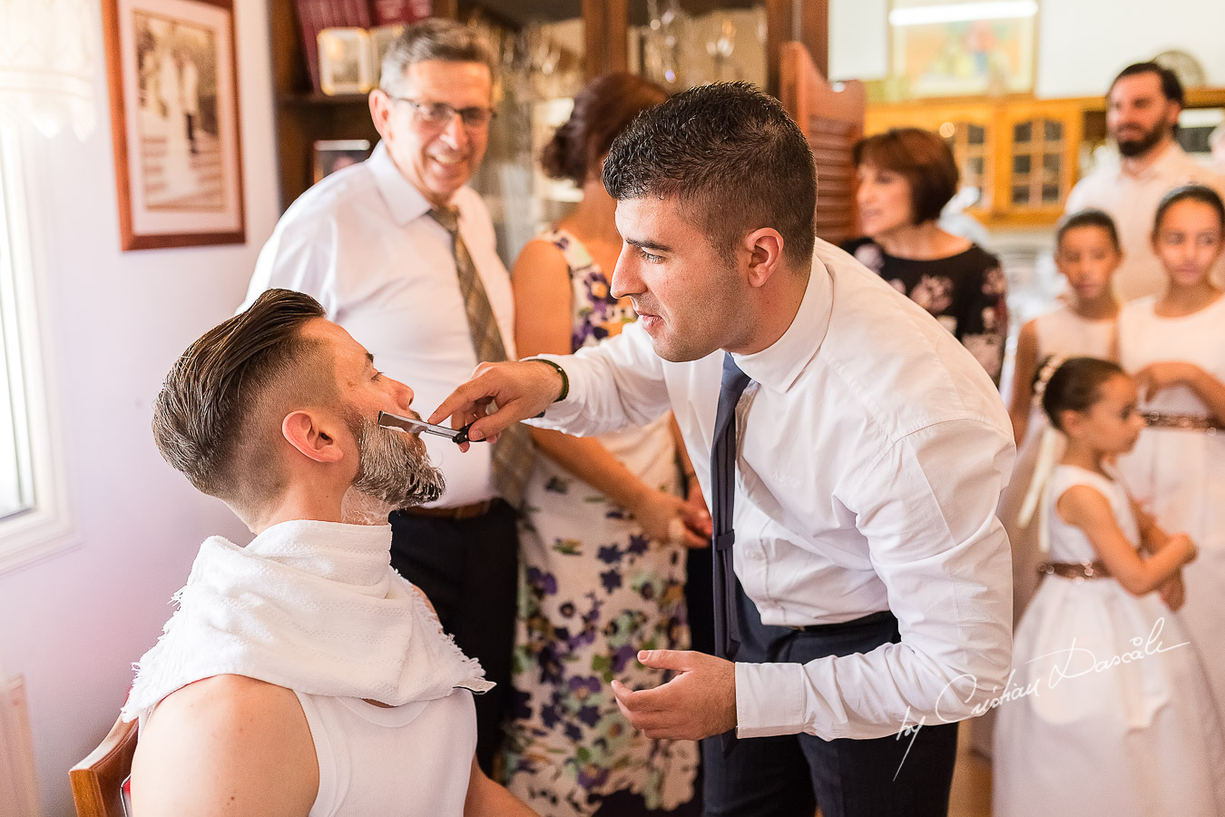 Groom's shave photographed at a wedding in Nicosia by Cyprus Wedding Photographer Cristian Dascalu