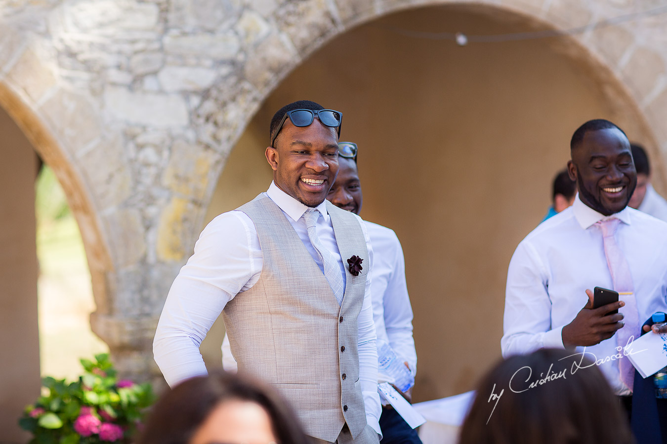 Moments with the guests captured at a wedding at Minthis Hills in Cyprus, by Cristian Dascalu.