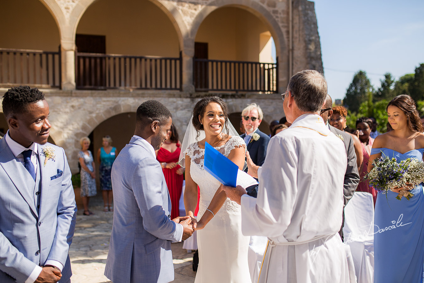 Happy moments with the bride and groom captured at a wedding at Minthis Hills in Cyprus, by Cristian Dascalu.