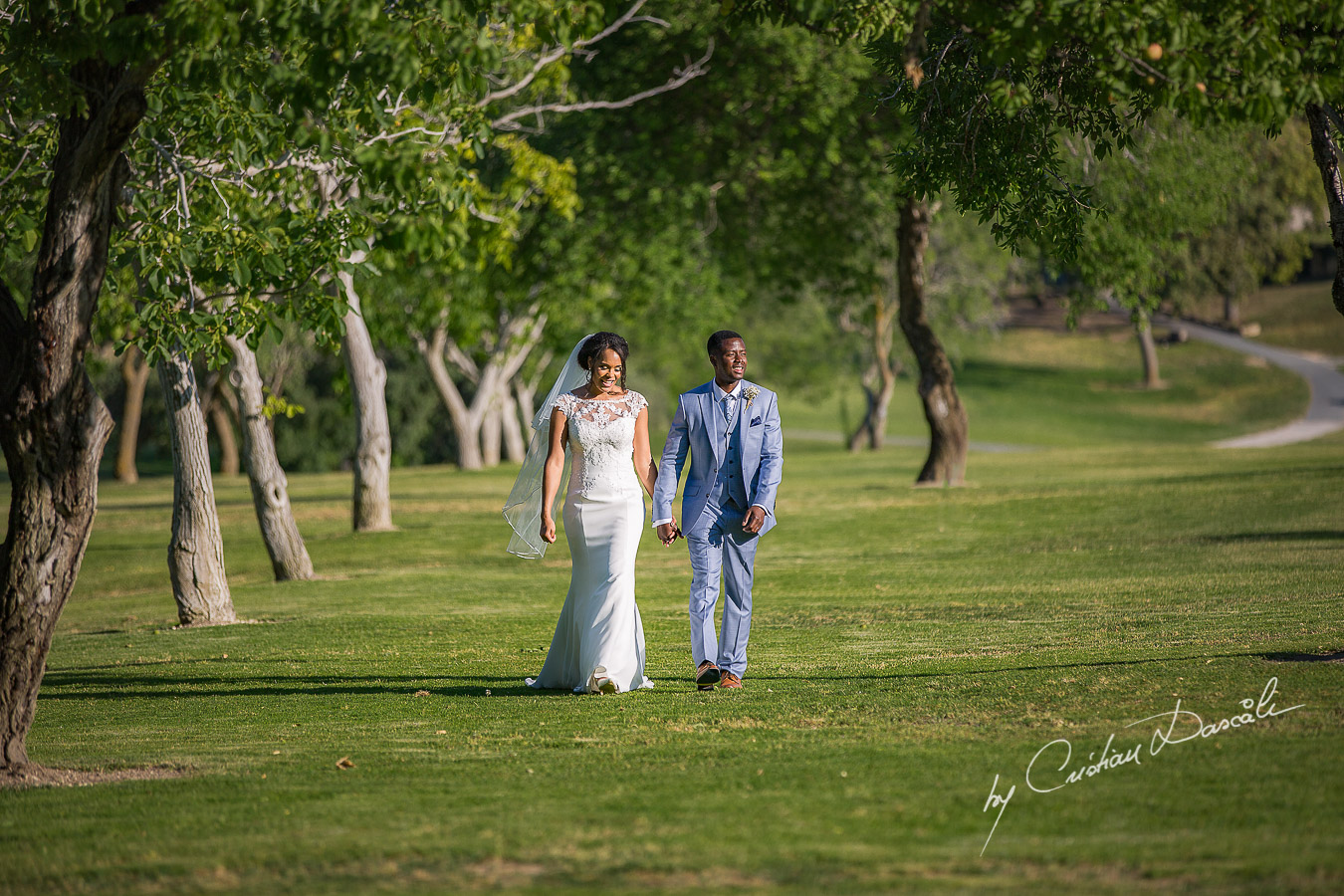 Bride and groom mini-photo session captured at a wedding at Minthis Hills in Cyprus, by Cristian Dascalu.