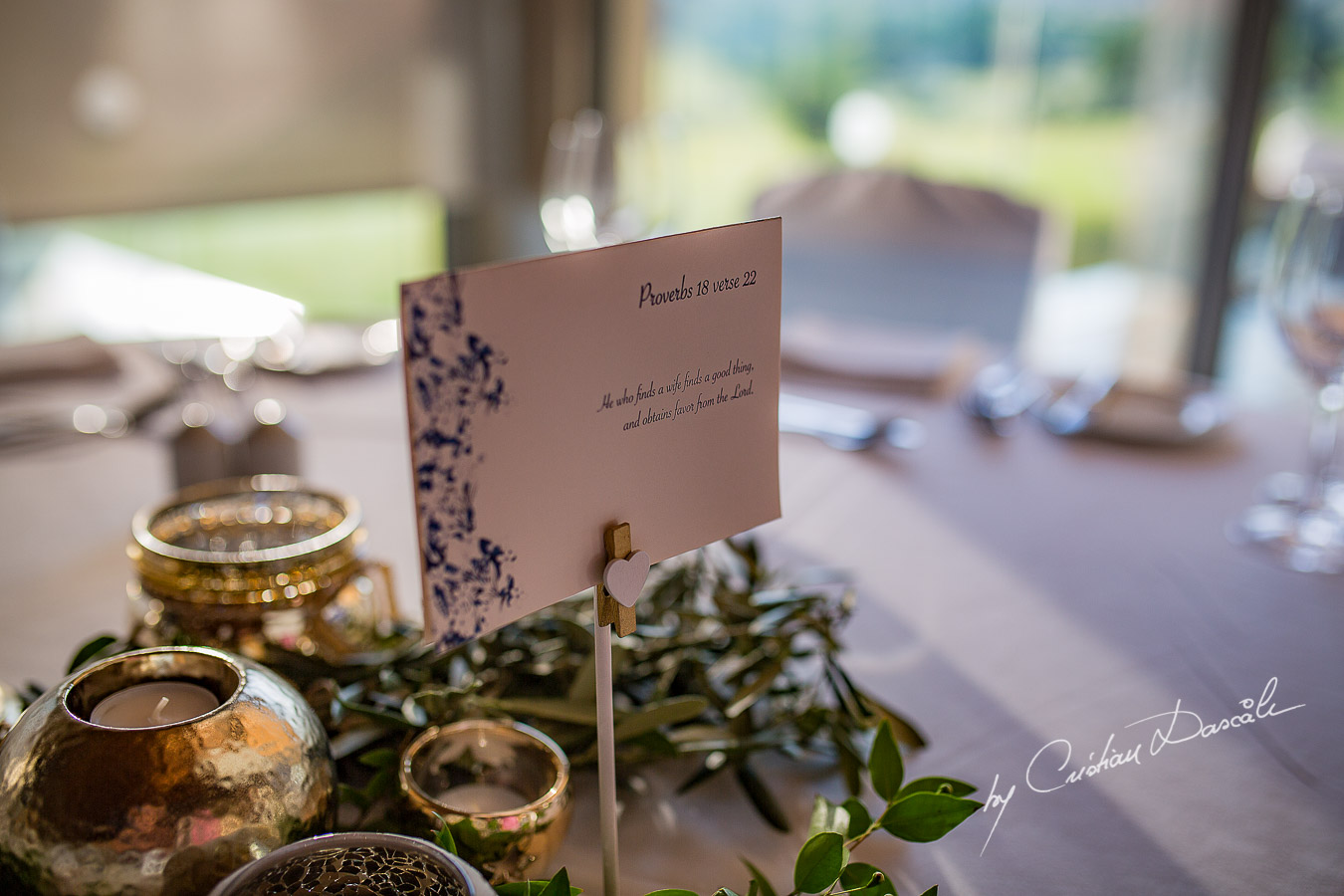 Wedding venue details captured at a wedding at Minthis Hills in Cyprus, by Cristian Dascalu.