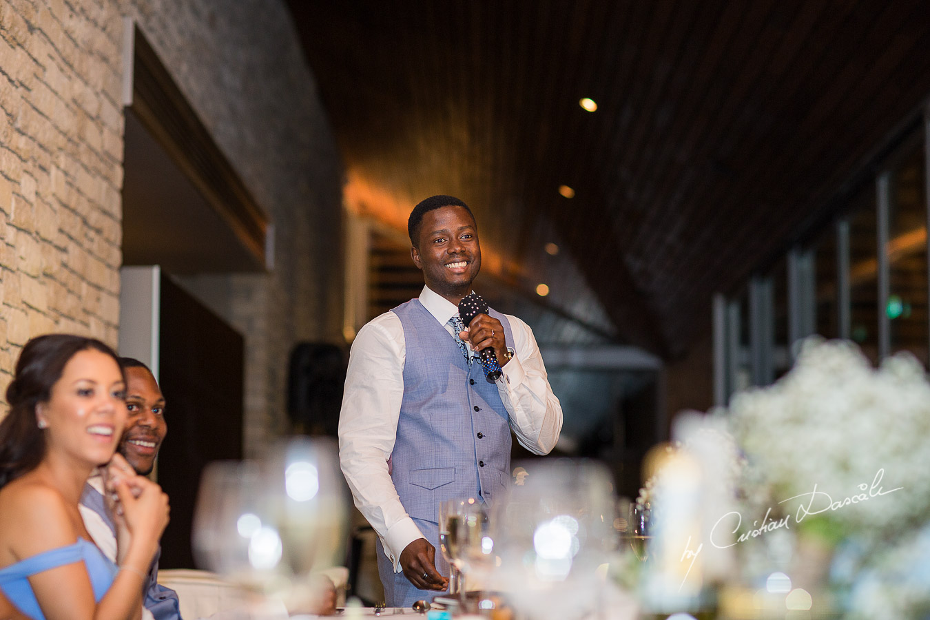 Groom speech moment captured at a wedding at Minthis Hills in Cyprus, by Cristian Dascalu.